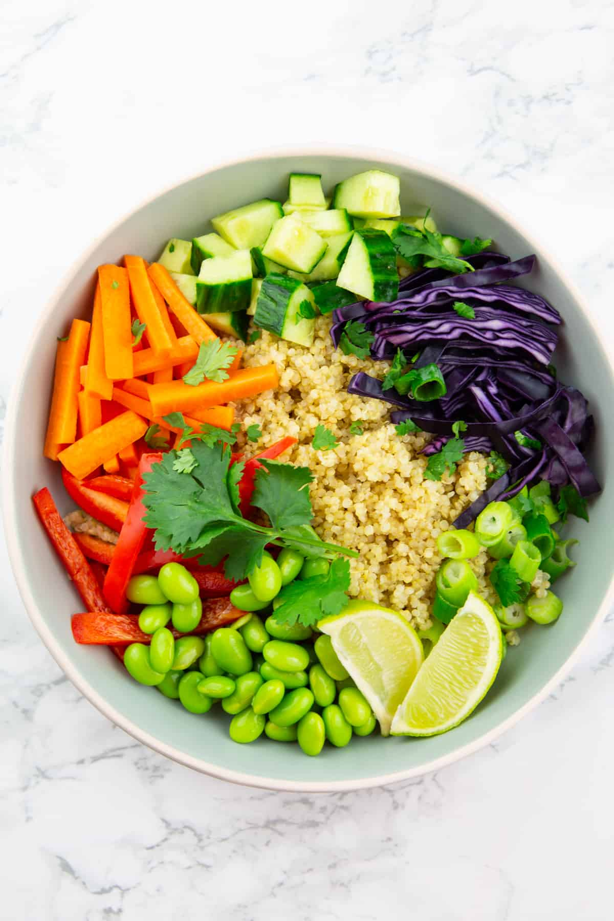 quinoa, carrots, bell pepper, cucumber, and edamame in a grey bowl