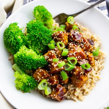 teriyaki tofu with brown rice and broccoli in a white bowl with a fork