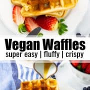 a collage of two photos of vegan waffles with a text overlay