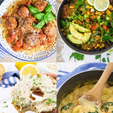 a collage of four easy vegan recipes for beginners