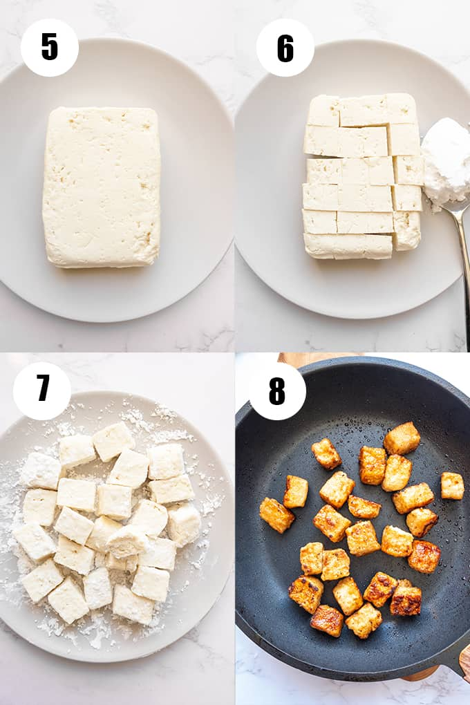 a collage of four step-by-step photos that show how to make this recipe