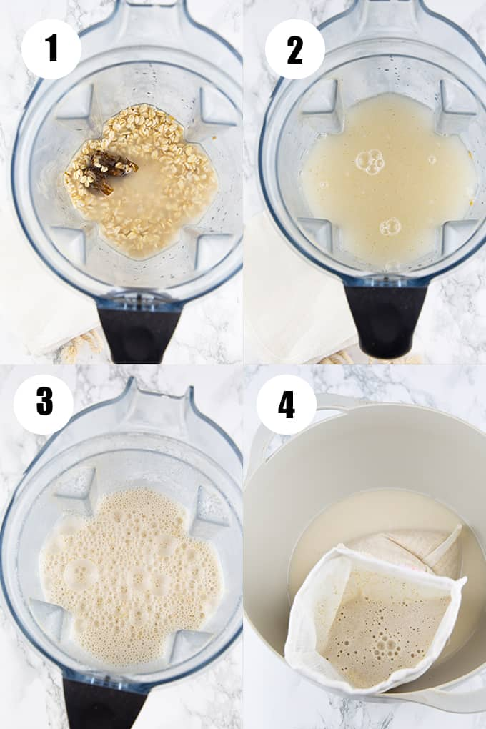 a collage of four step-by-step photos showing how to make this recipe