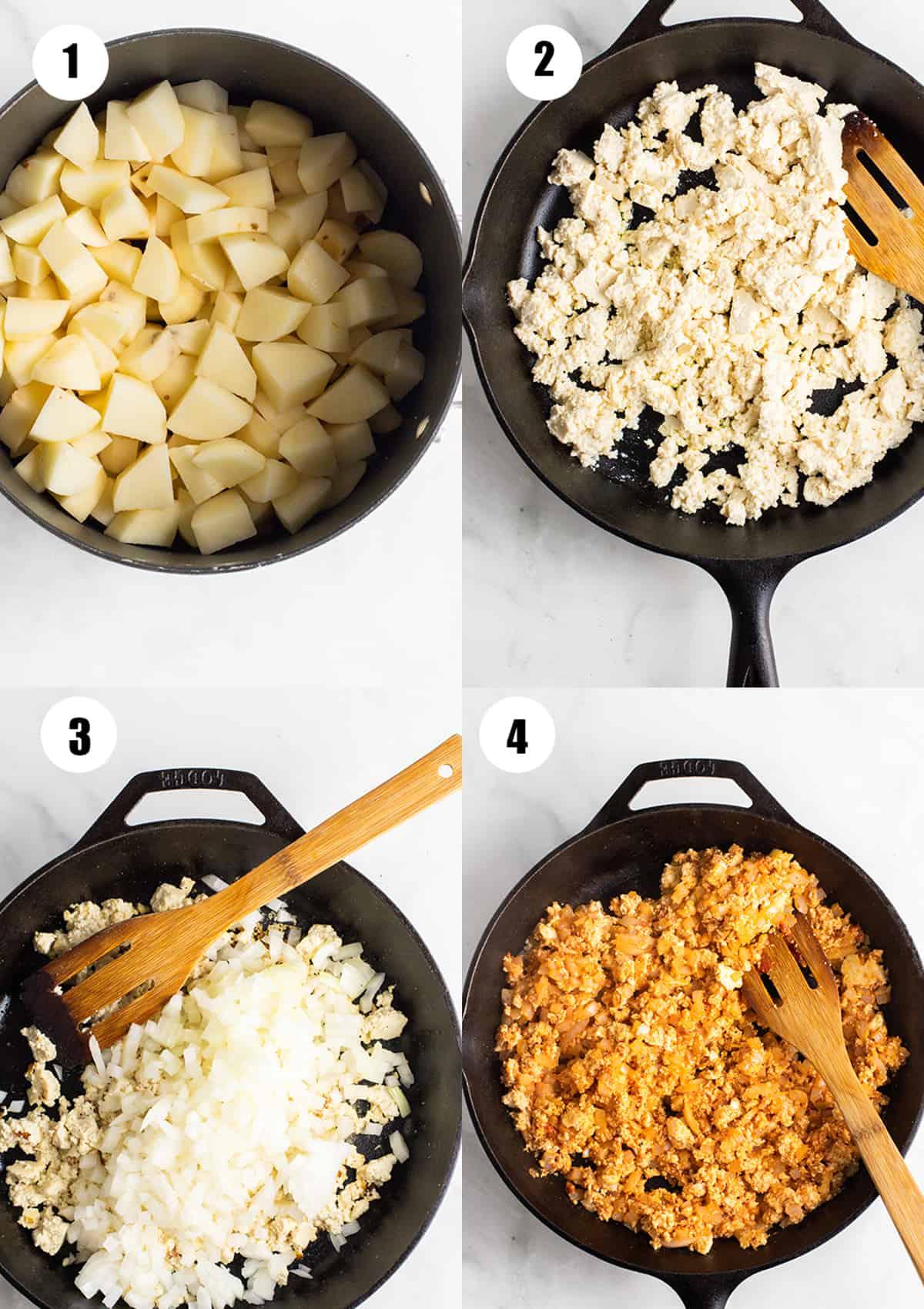 uma colagem de quatro fotos passo a passo que mostram a preparação desta receita