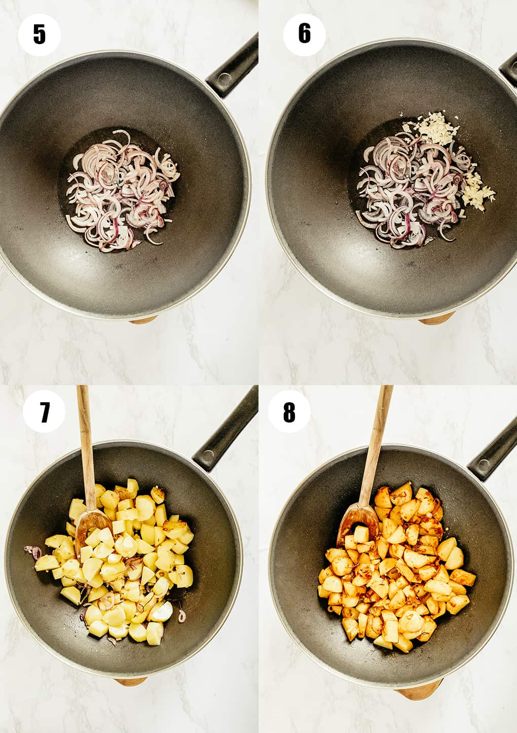 a collage of four step-by-step photos that show the preparation of this recipe
