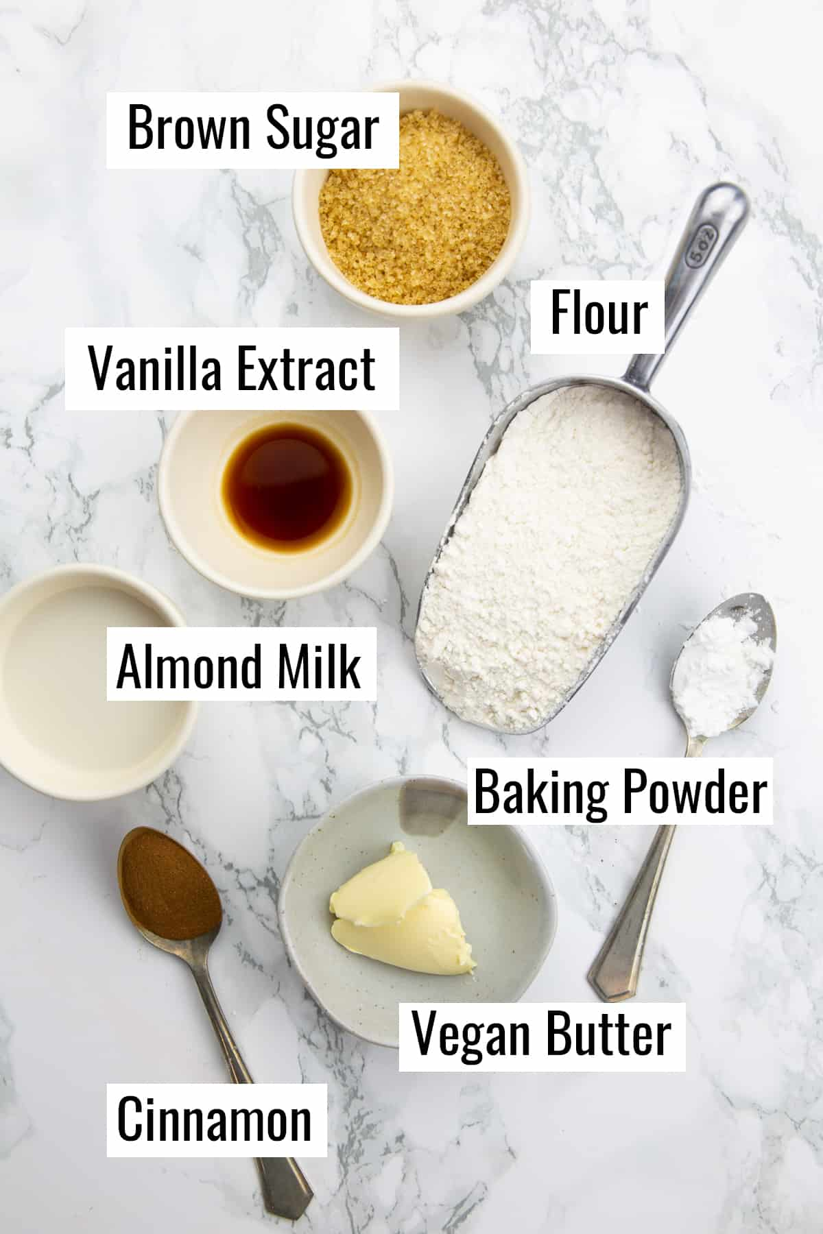 the ingredients for this recipe on a marble countertop with labels
