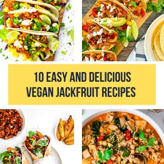 a collage of of four photos of jackfruit recipes with a text overlay