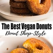 a collage of two photos of vegan donuts with a text overlay