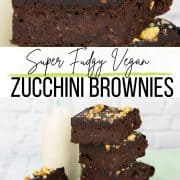 a collage of two photos of zucchini brownies with a text overlay