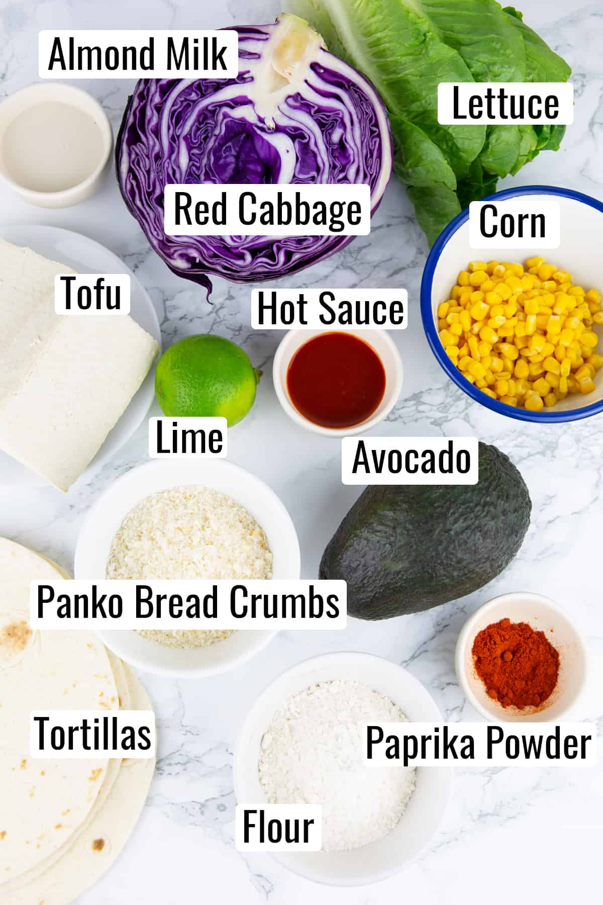 the ingredients that go into this recipe on a marble countertop