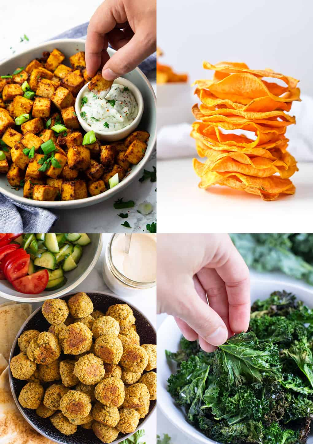 a collage of four vegan air fryer recipes