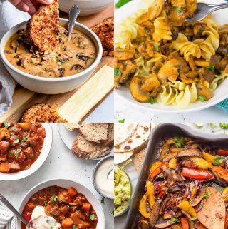 a collage of four photos of vegan mushroom recipes